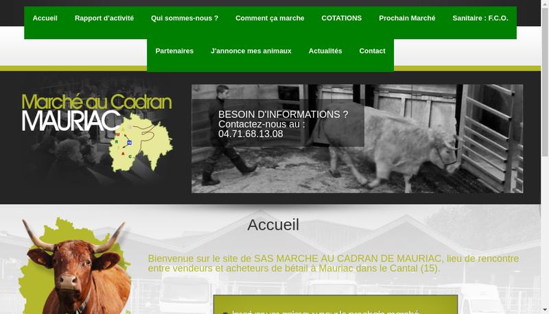 Capture d'écran du site de Marche au Cadran de Mauriac