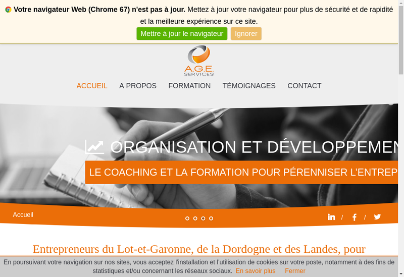 Capture d'écran du site de Age Services