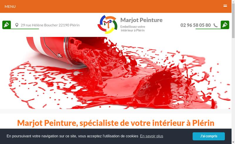 Capture d'écran du site de Marjot Peinture