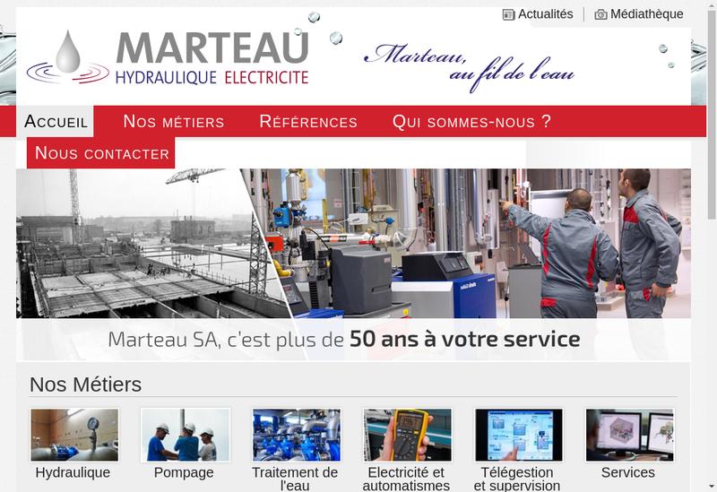 Capture d'écran du site de Entreprise Roger Marteau