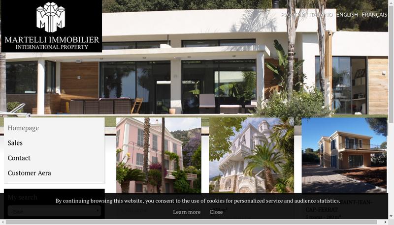 Capture d'écran du site de Martelli Immobilier