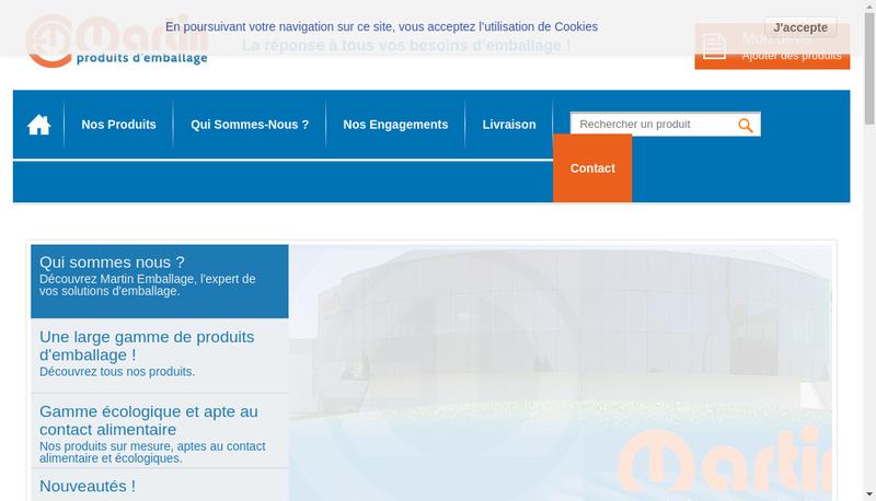 Capture d'écran du site de Martin Emballage