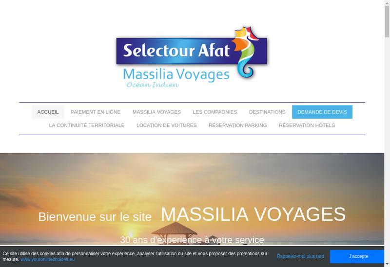 Capture d'écran du site de Massilia Voyages