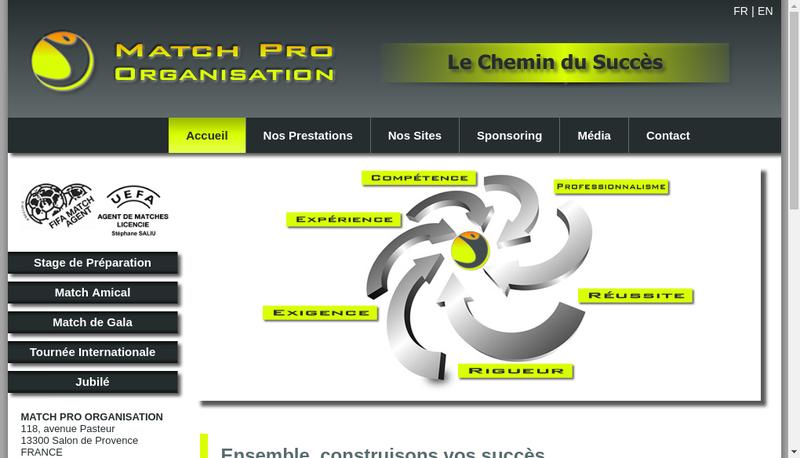 Capture d'écran du site de Match Pro Organisation