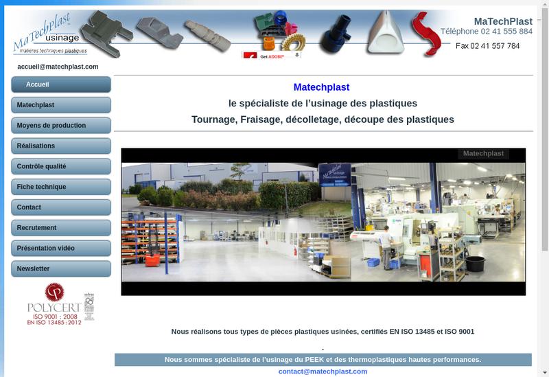 Capture d'écran du site de Matechplast
