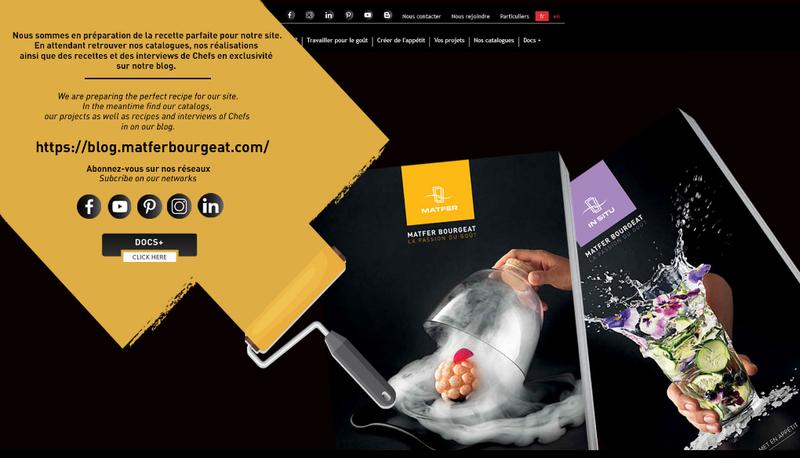 Capture d'écran du site de Matfer Industrie