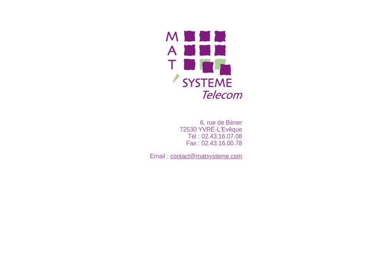 Capture d'écran du site de Mat'Systeme
