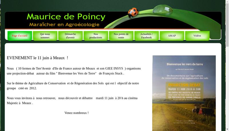 Capture d'écran du site de GAEC Maurice de Poincy