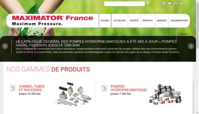 Capture d'écran du site de Maximator