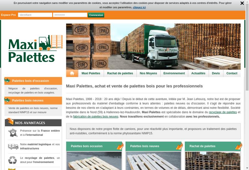 Capture d'écran du site de Maxi Palettes