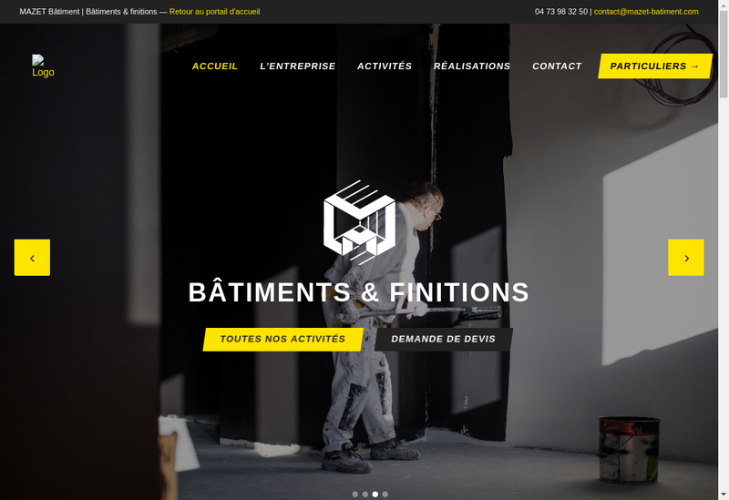 Capture d'écran du site de Entreprise Mazet