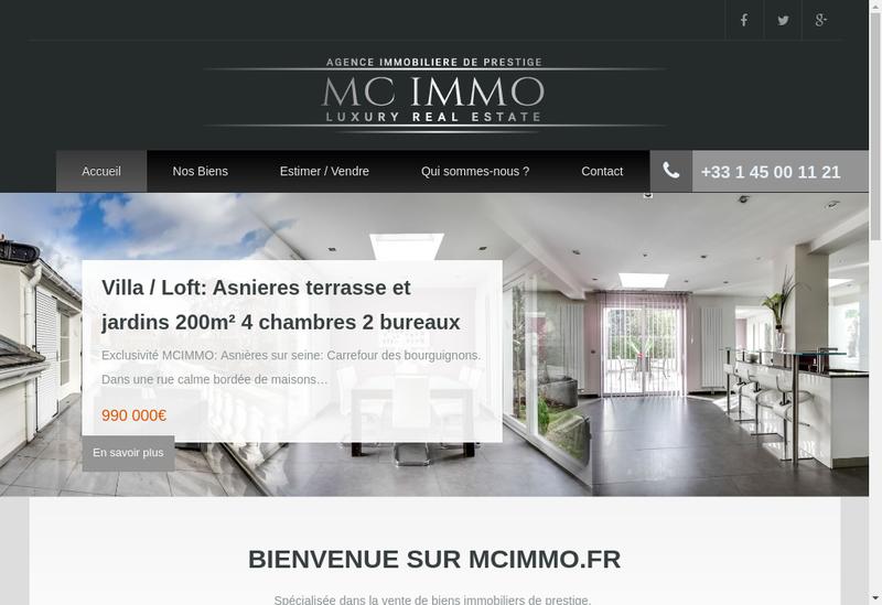 Capture d'écran du site de Mc Immo