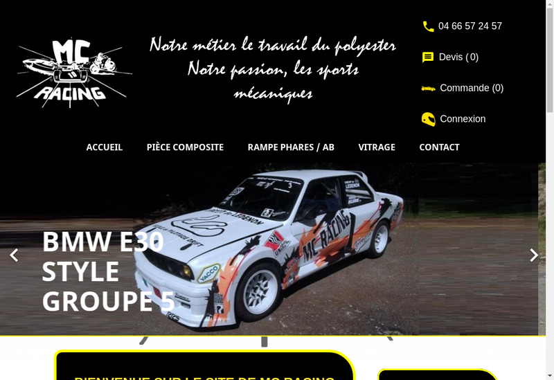 Capture d'écran du site de Mc Racing