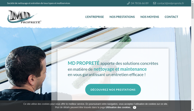 Capture d'écran du site de Mdproprete