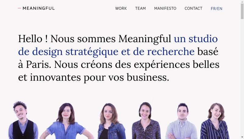 Capture d'écran du site de Meaningful