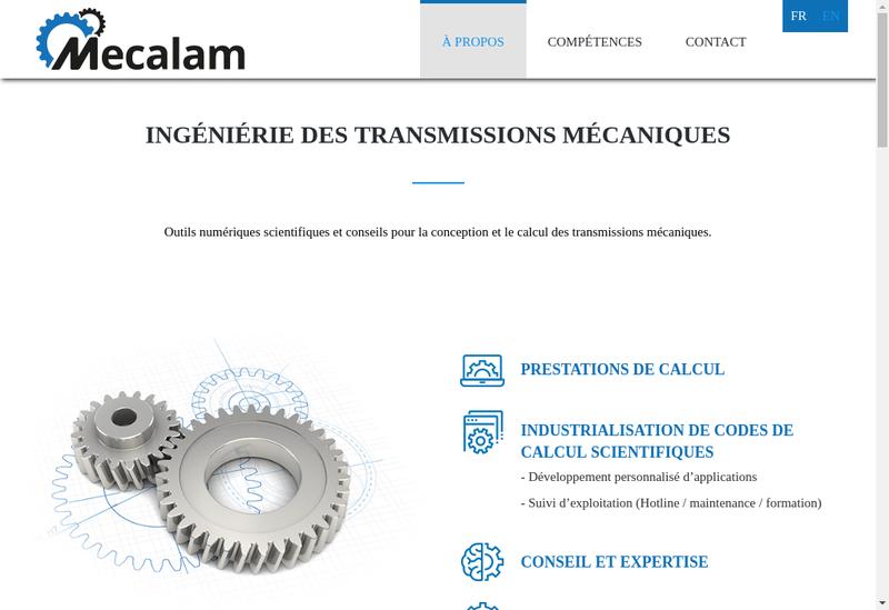 Capture d'écran du site de Mecalam