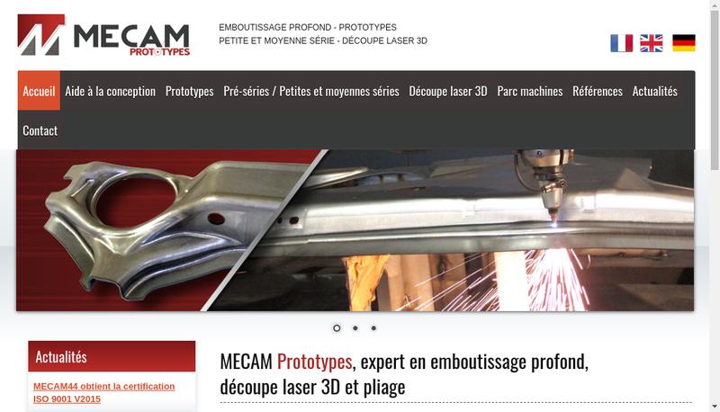 Capture d'écran du site de Mecam 44