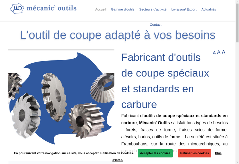 Capture d'écran du site de Mecanic Outils SA