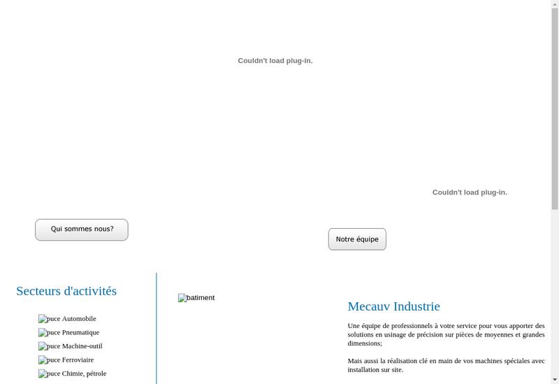 Capture d'écran du site de SA Mecauv