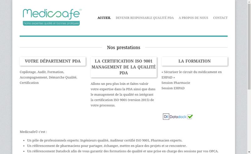 Capture d'écran du site de Medicsafe