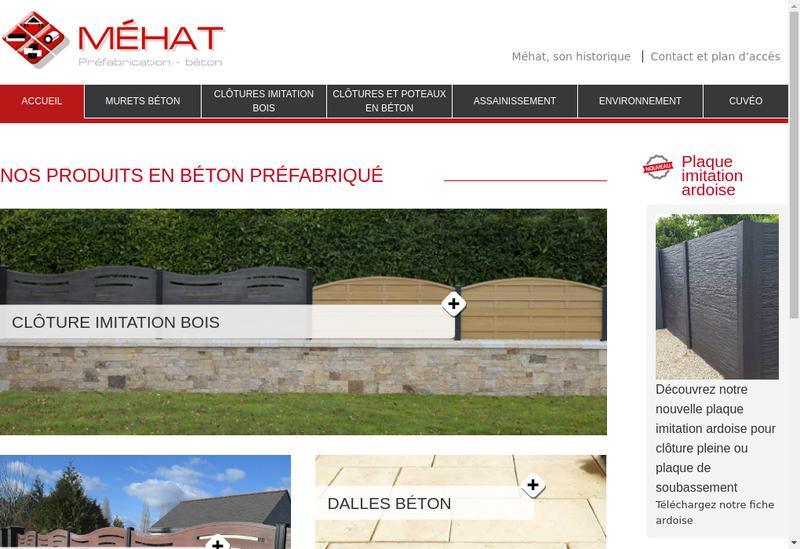 Capture d'écran du site de Mehat