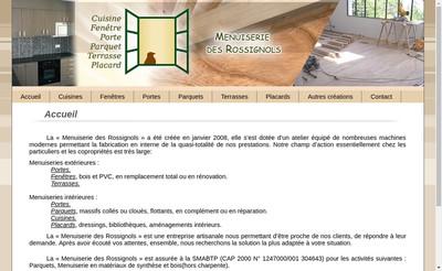 Site internet de Menuiserie des Rossignols