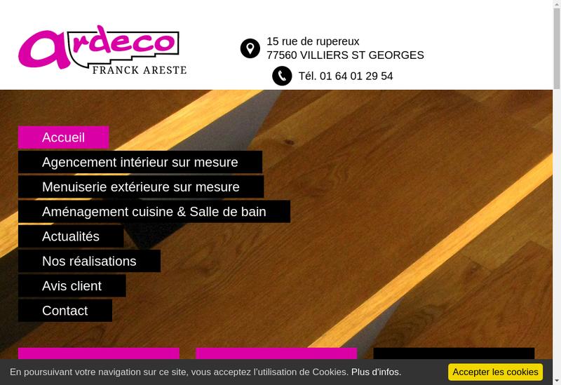 Capture d'écran du site de Areste