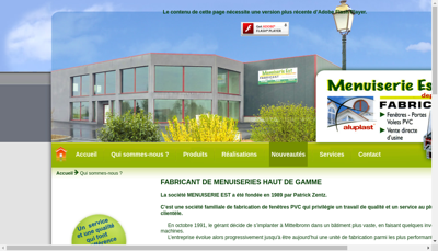 Capture d'écran du site de Menuiserie Est