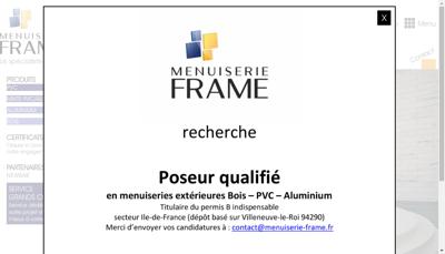 Capture d'écran du site de Menuiserie Frame