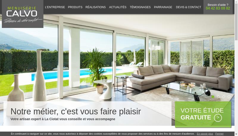 Capture d'écran du site de Menuiserie Calvo