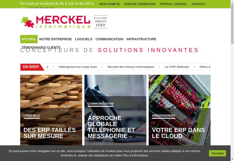 Capture d'écran du site de Merckel
