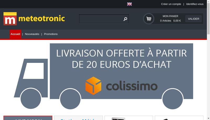 Capture d'écran du site de Meteotronic