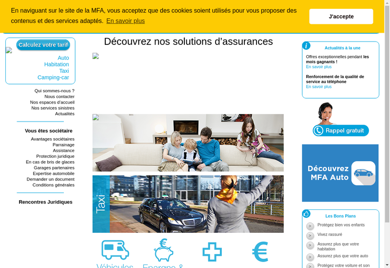 Capture d'écran du site de La MFA