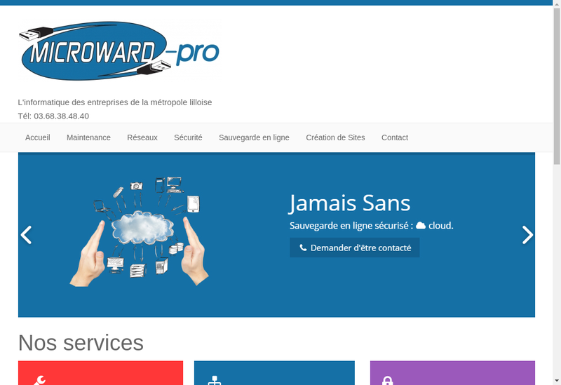 Capture d'écran du site de Microward
