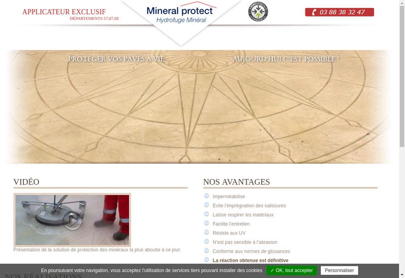 Capture d'écran du site de Mineral Protect