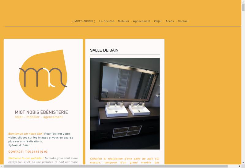 Capture d'écran du site de Miot + Nobis Ebenisterie