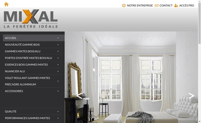 Capture d'écran du site de Fenetres Mixal