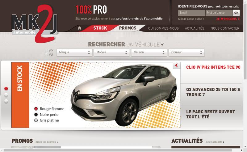 Capture d'écran du site de Mk2J Automobile