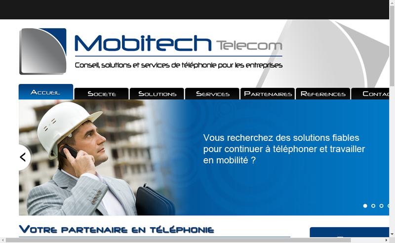 Capture d'écran du site de Mobitech Telecom