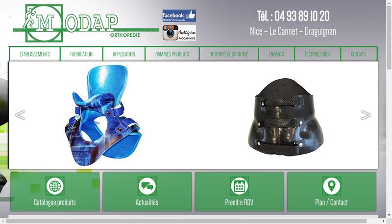 Capture d'écran du site de Modap Orthopedie