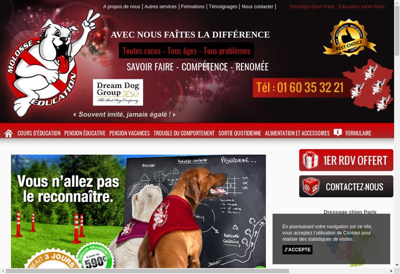 Capture d'écran du site de Molosse Education