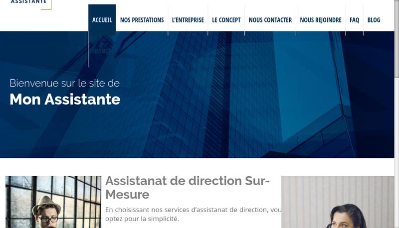 Capture d'écran du site de Mon Assistante - Wonder Assistant
