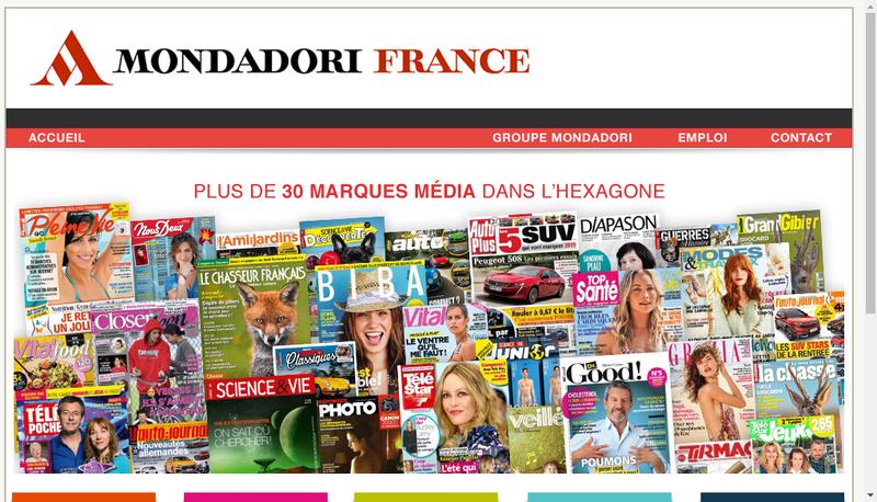 Capture d'écran du site de Mondadori Magazines France