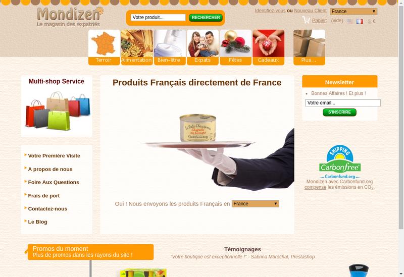 Capture d'écran du site de Mondizen