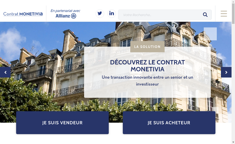 Capture d'écran du site de Monetivia
