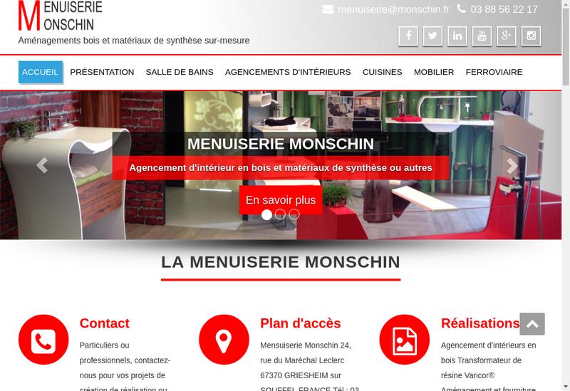 Capture d'écran du site de Menuiserie Monschin