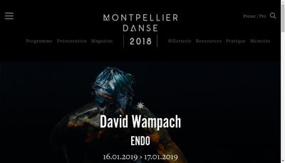 Capture d'écran du site de Montpellier Danse