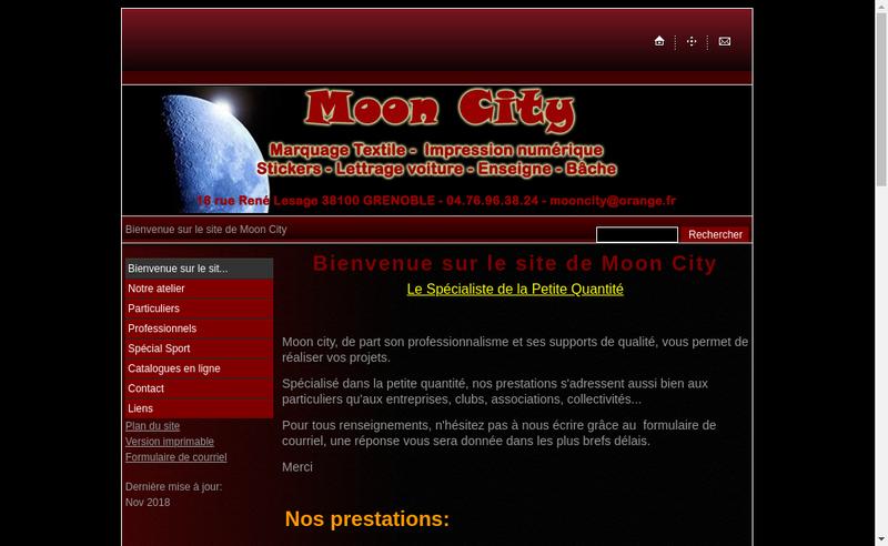 Capture d'écran du site de Moon City