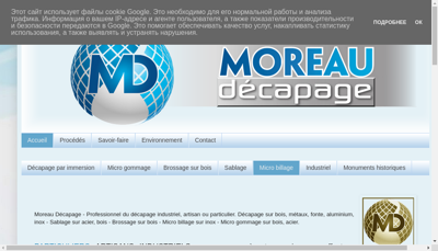 Capture d'écran du site de Moreau Decapage