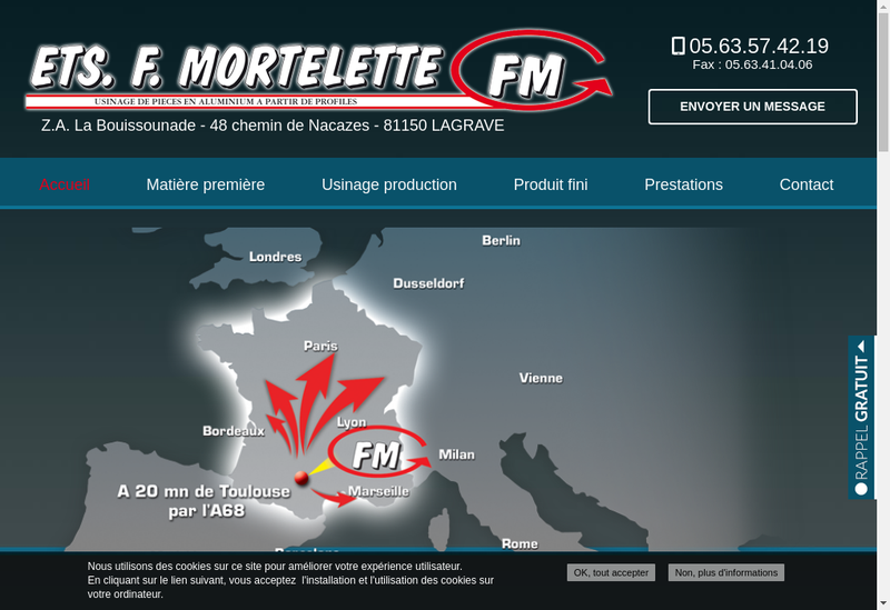 Capture d'écran du site de Etablissements F Mortelette